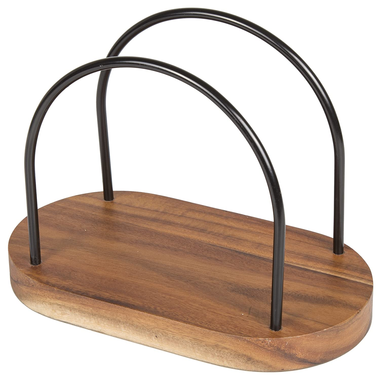 Creative Home 50304 Chestnut Wood Napkin Holder, 7-1/4 x 4 x 5-1/4, Black