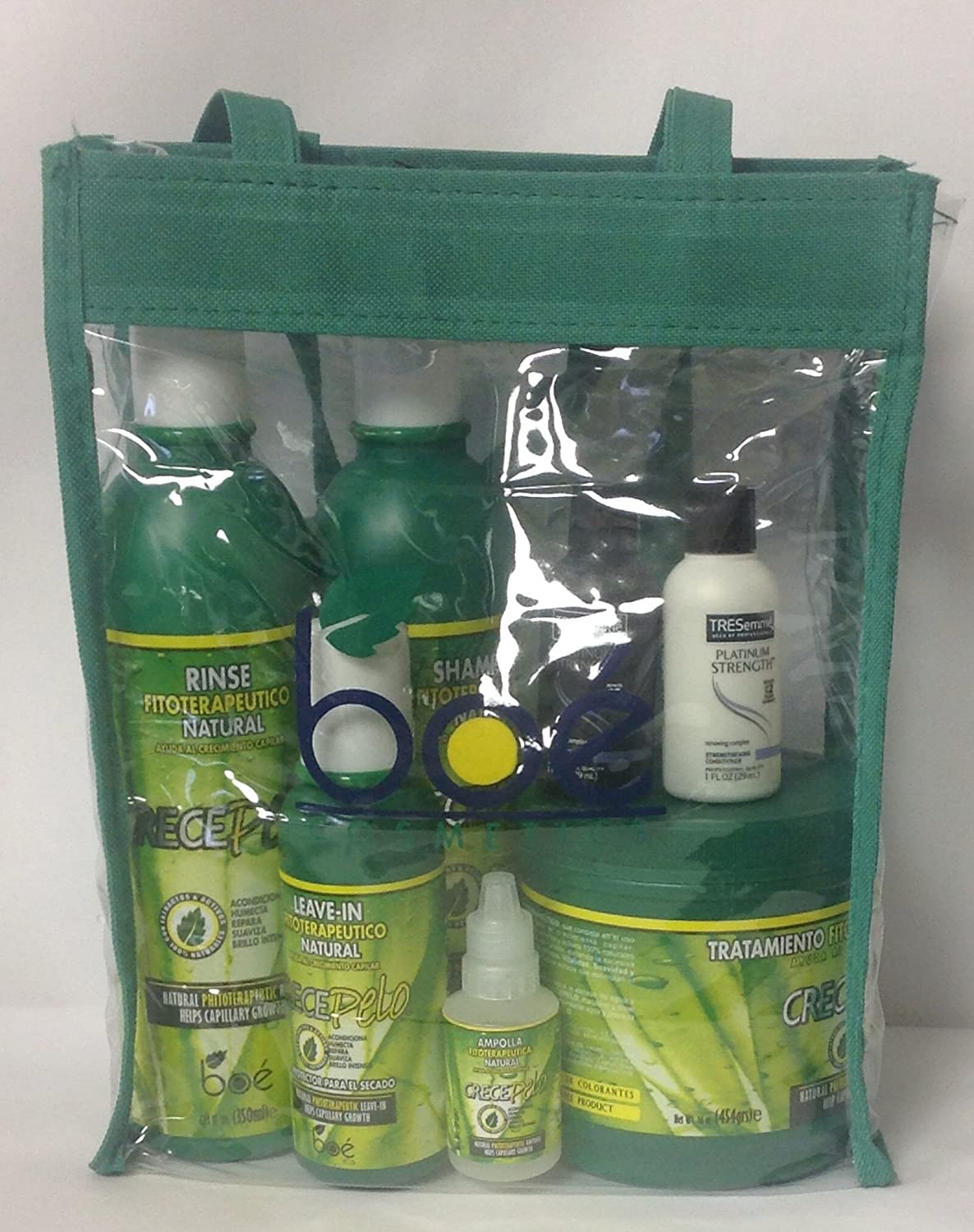 Amazon.com : Boe Crece Pelo 5pc Set w/ Clear Tote w/ FREE TRESemme Platinum Strength Shampoo & Conditioner 1oz : Beauty