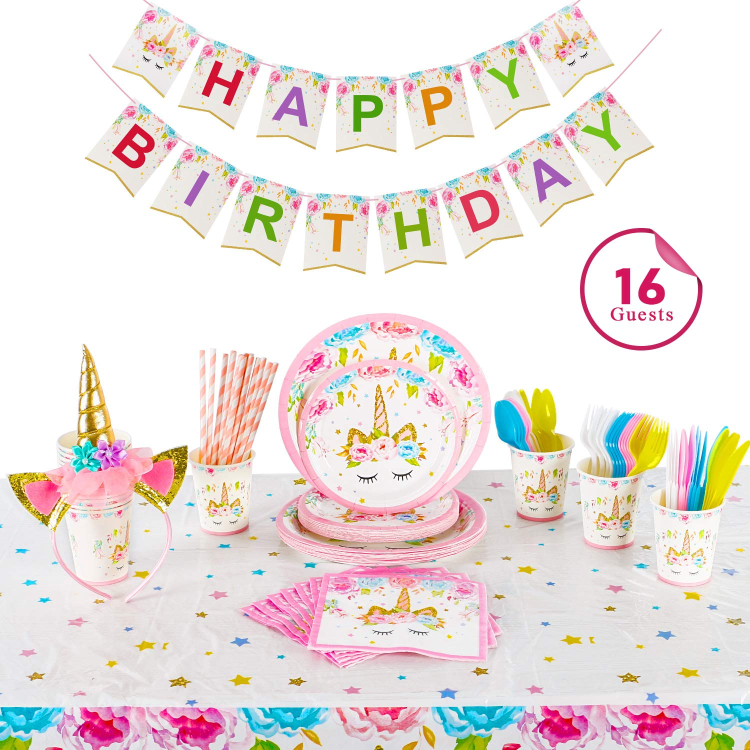 Clearance Sale ! Party Supplier Serves 16, Birthday Decoration Kits for Girls | Headband | Napkins | Plates | Cups | Straws | Table Cloth | Utensils | Happy Birthday Banner by Alyoen by Alyoen