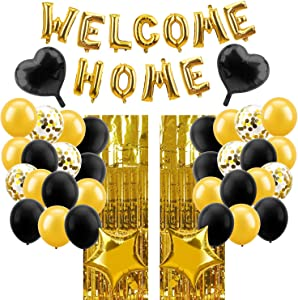 Lnlofen Welcome Home Balloon Banner Decorations Kit, 39Pcs, Including Gold Welcome Home Balloons Sign, Foil Curtains, Latex & Foil Balloons for Home Decoration Family Party Supplies