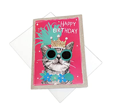 Amazon Happy Birthday Festive Queen Cat Embellished 5 X 7