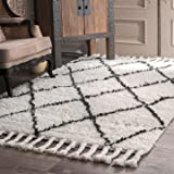 nuLOOM SPRE14A-508 Natural Hand Knotted Fez Shag Area Rug, 5' x 8', Natural