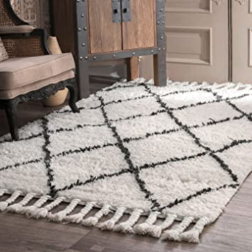 nuloom spre14a508 natural hand knotted fez shag area rug 5u0027 x 8