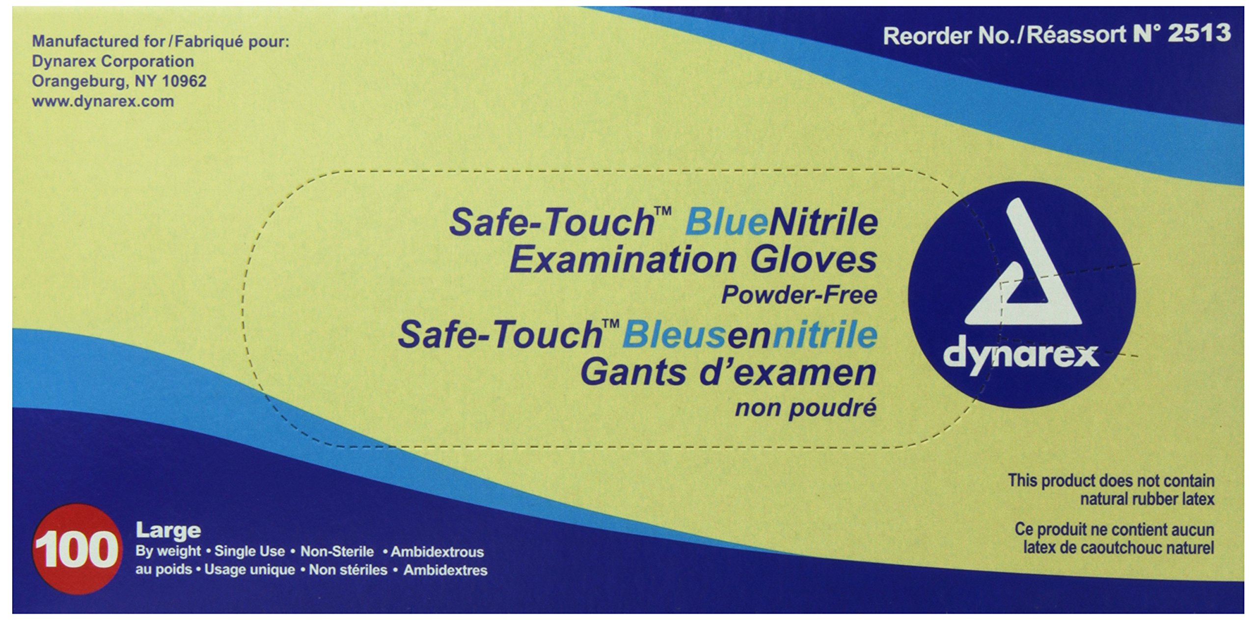 Dynarex 2513 SafeTouch Nitrile Exam Gloves, Non-Latex, Powder Free, Large, Blue (Pack of 100)