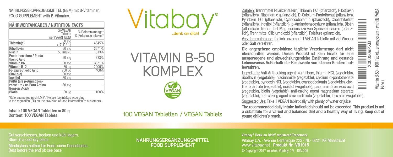 Vitamina B-50-100 tabletas - Complejo de vitamina B de alta dosis - contiene todas las vitaminas B - con PABA: Amazon.es: Salud y cuidado personal