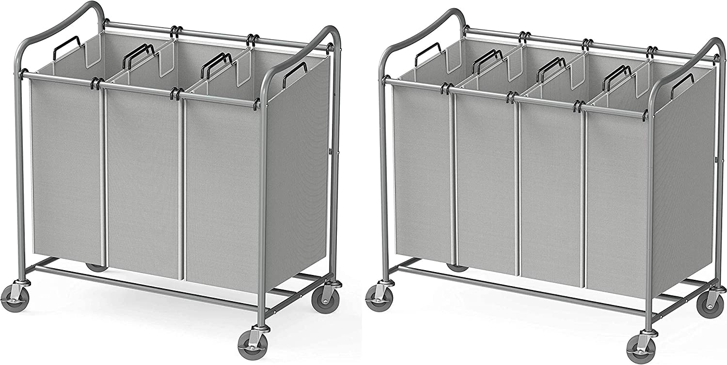 Simple Houseware Heavy-Duty 3-Bag + 4-Bag Laundry Sorter Cart, Silver