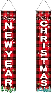 Merry Christmas Door Banner, Farmhouse Christmas Decor, Buffalo Plaid Christmas Decorations, Christmas Porch Wall Decor for Home Decor, Welcome Sign Front Indoor Christmas Red Hanging Holidays Signs