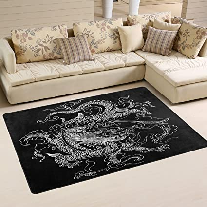 Chinese Dragon Playmat Floor Mat For Dining Room Living Room Bedroom, Size  5u0027X3