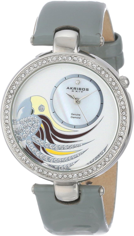 Akribos XXIV Women s AK602GY Lady Diamond Parrot Dial Swiss Quartz Leather Strap Watch