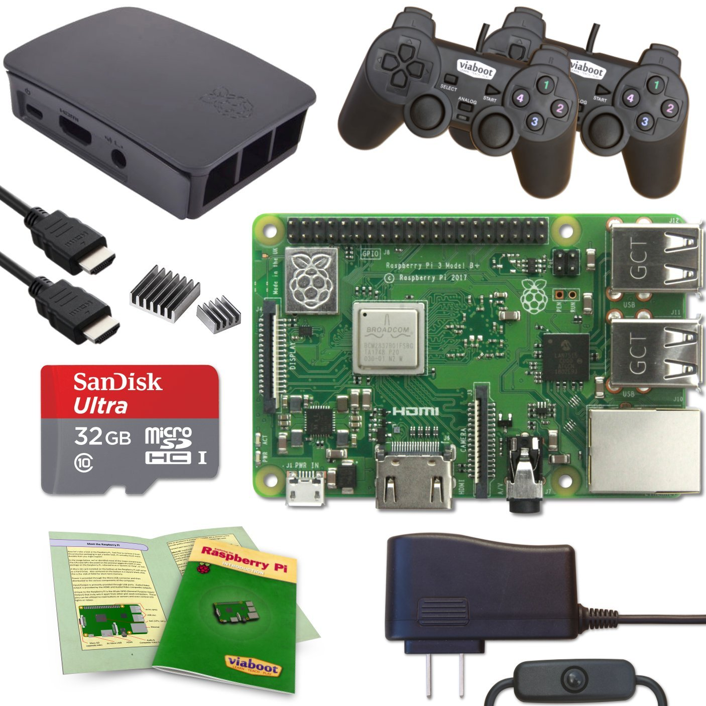 Viaboot Raspberry Pi 3 B+ Gaming Kit — Official 32GB MicroSD Card, Official Rasbperry Pi Foundation Black/Gray Case, PS Edition by Viaboot (Image #1)