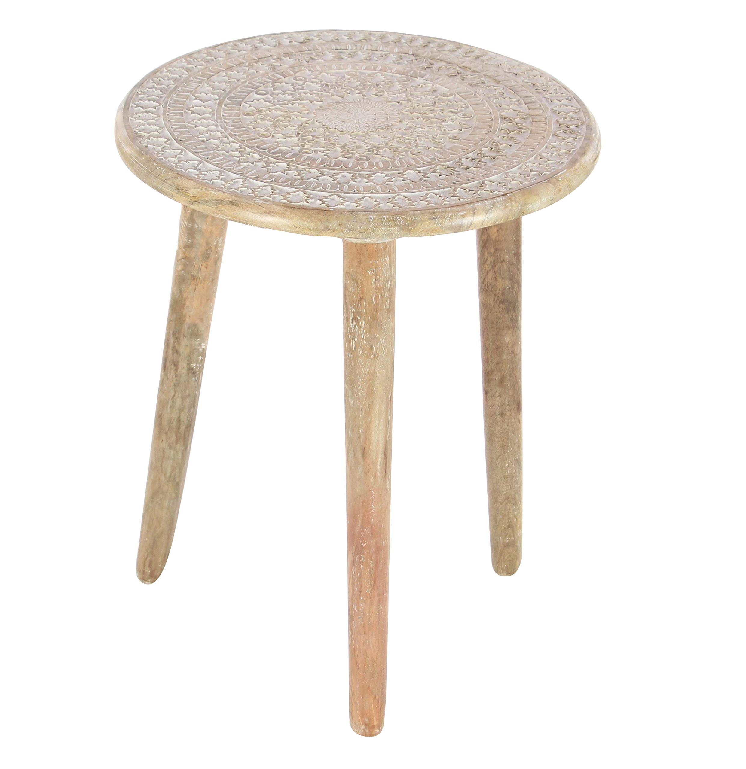 Deco 79 Wood Tripod Round Table, Brown by Deco 79