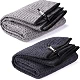 Fpxnb 2 Pack Tri-fold Golf Towel Set, Microfiber Fabric Waffle Pattern Towels, Heavy Duty Carabiner Clip (2 Pcs, 2…