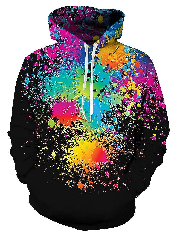 Belovecol Mens Womens Hooded Sweatshirt Realistic 3D Print Fleece Pullover Hoodie with Big Pockets