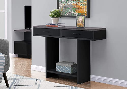 Monarch Specialties Console Sofa Table 2 Drawers Shelf Rectangular Hallway Entryway Accent, 48 L, Black Grey