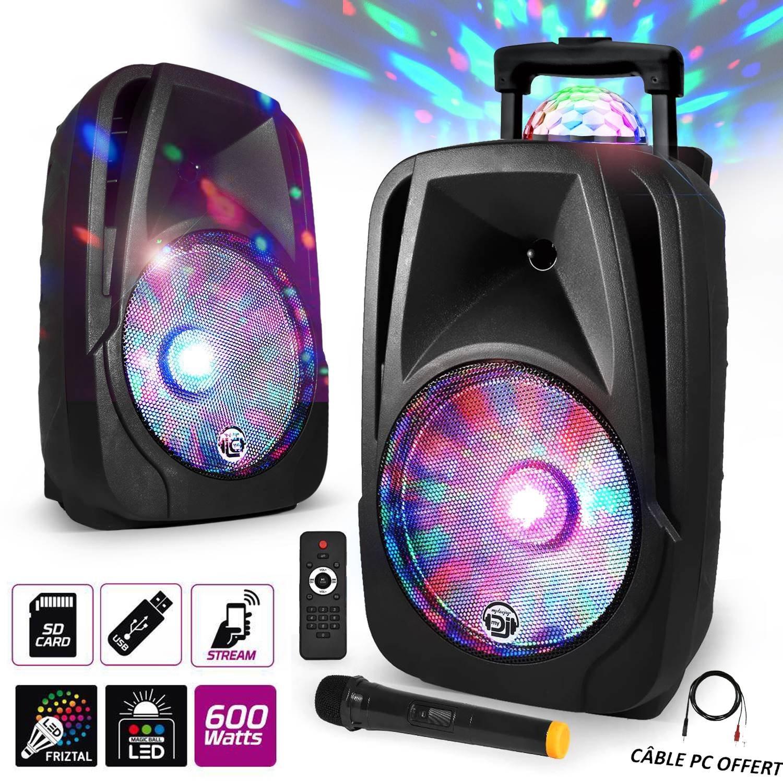 Enceinte mobile Sono DJ PA Karaoké 600W 12' LED USB/BT/SD/PC + Micro VHF + Effet MagicBall Friztal rotatif MyDJ