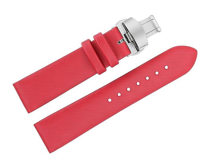20mm Rojo Spun seda reloj Correas para relojes de pulsera de lujo del reemplazo de las señoras con cierre de implementación de doble pulsador: Amazon.es: ...