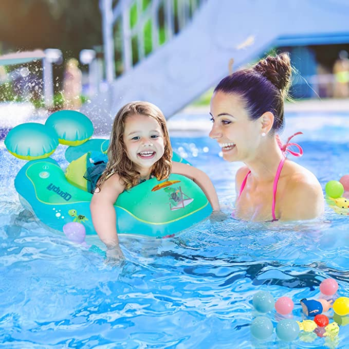 cozy-coze Baby Swimming Float Ring Inflatable Neck Pool Floats Detachable Bottom Support Children Waist Swim Water Toys Accessories for Toddler Age of 2-6 Years