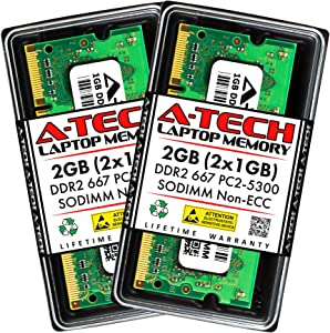 A-Tech 2GB (2x1GB) DDR2 667MHz SODIMM PC2-5300 1.8V CL5 200-Pin Non-ECC Unbuffered Laptop RAM Memory Upgrade Kit