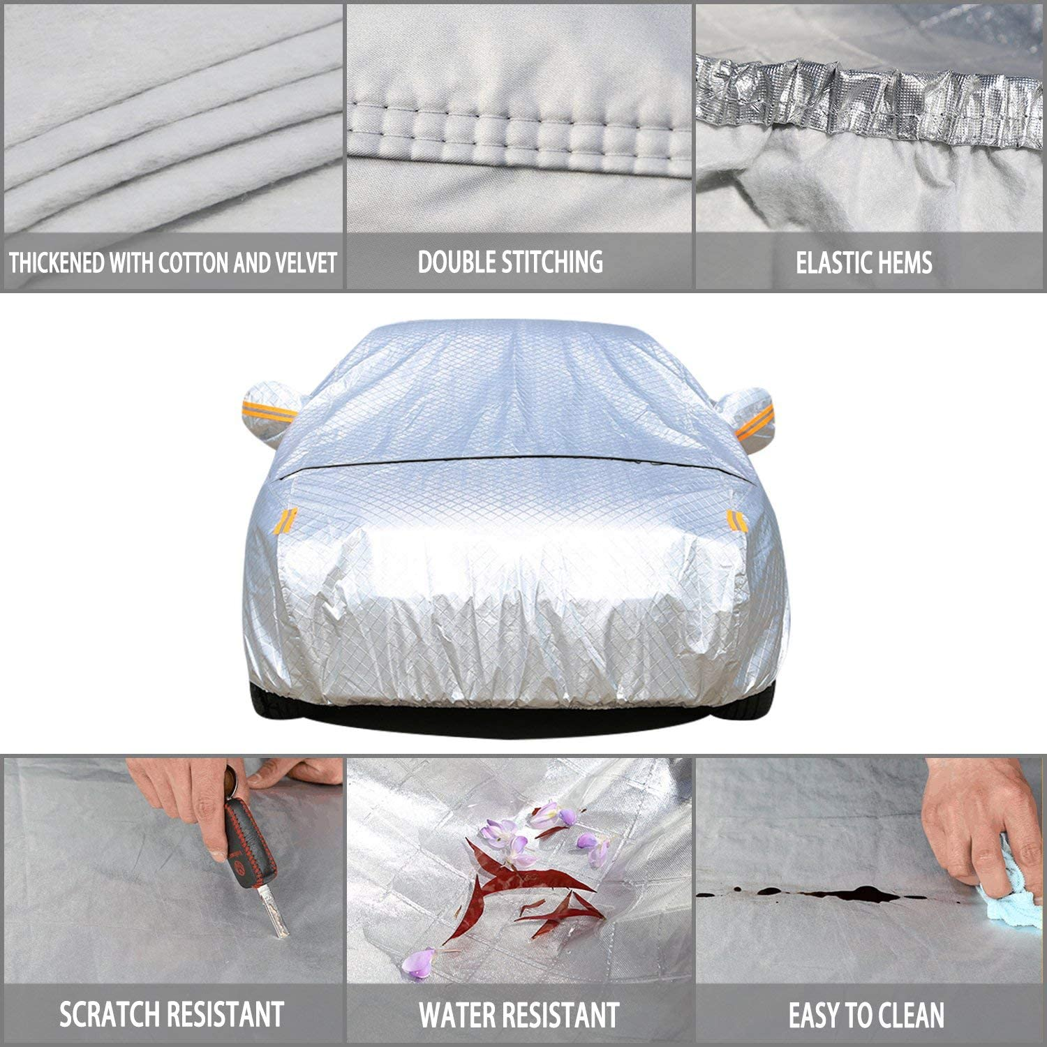 Sedan XXL Car Cover 4.8m 5.4m 5.8m with Cotton Waterproof Windproof Belts Sedan SUV limousine extended vehicles Snow UV Heat Scratch Resistant Durable with Zippered Opening Universal fits All Cars