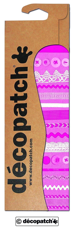 Decopatch carta Bottoni e pizzo, confezione da 3, rosa/bianco C593O