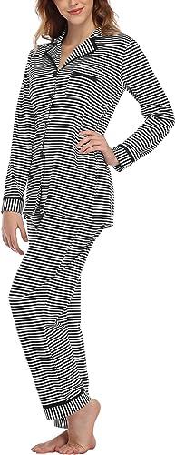 Aranmei Women Striped Pyjamas Set Cotton Loungewear Long Sleeve Sleepwear Button Down Soft Nightwear Pj Sets with Pockets