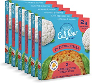 product image for Cali'flour Foods Pizza Crust (Sweet Red Pepper, 6 Boxes, 12 Crusts) - Fresh Cauliflower Base | Low Carb, High Protein, Gluten and Grain Free | Keto Friendly