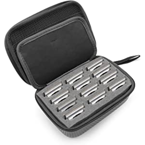 CASEMATIX Hair Clipper Guard Blade Holder Case For Barbers and Stylist Fits 12 Metal Andis, Oster, Wahl, Babyliss and More Detachable Clippers Metal Guards - BLADE STORAGE CASE ONLY