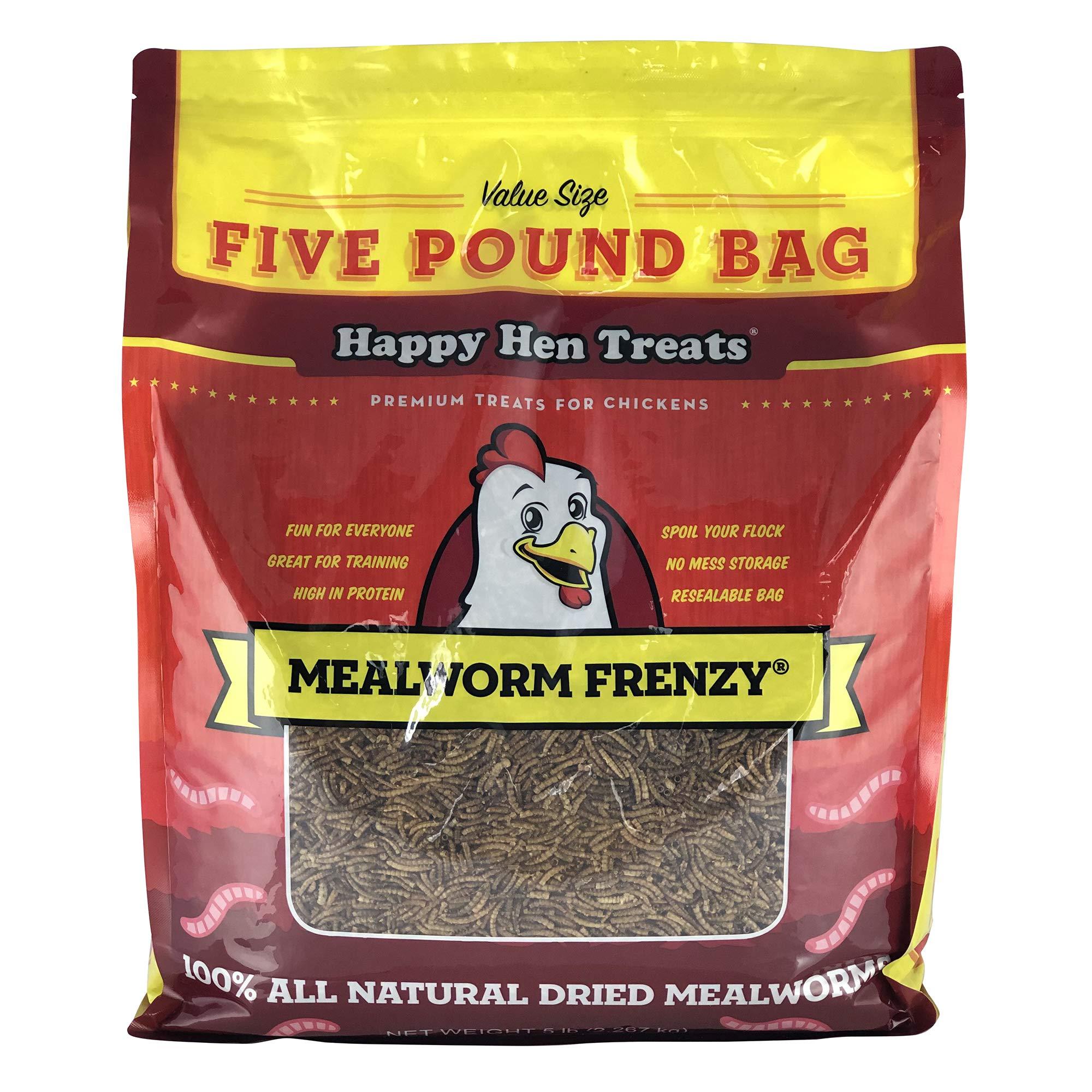 Happy Hen Treats Mealworm Frenzy Pet Treat (1 Pouch), 5 Lb by Happy Hen Treats