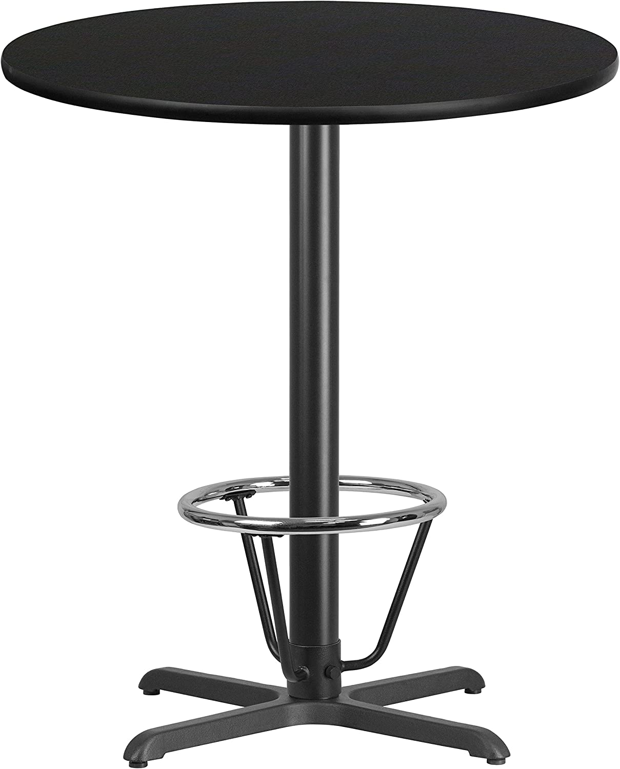 Flash Furniture 36'' Round Black Laminate Table Top with 30'' x 30'' Bar Height Table Base and Foot Ring