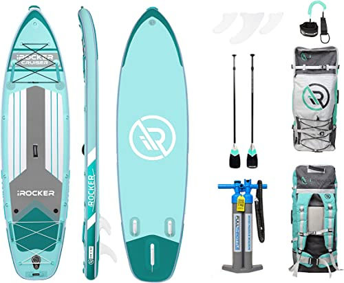 iROCKER Cruiser Inflatable Stand Up Paddle Board 10 6 Long 33 Wide 6 Thick SUP Package