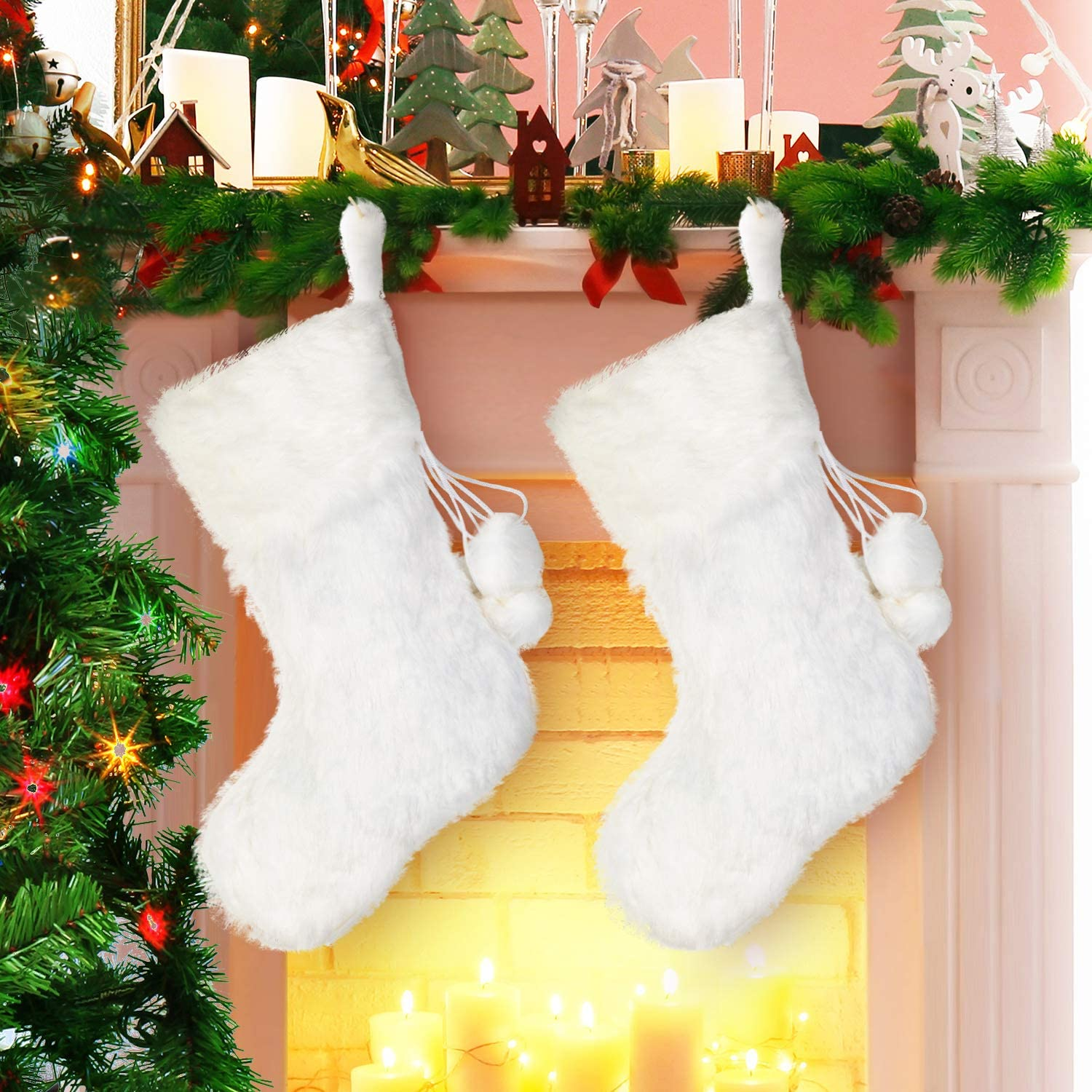 Jovitec 20 Inch Christmas Stockings Fireplace Hanging Stockings Cozy Faux Fur Stocking Plaid Stocking for Christmas Decoration Color 2, 2 Pieces