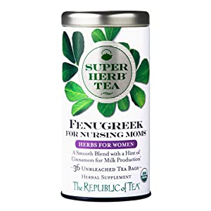 The Republic of Tea Organic Fenugreek SuperHerb Tea For Nursing Moms, 36 Tea Bags