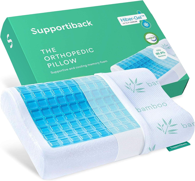 Supportiback - Cuscino ortopedico terapeutico con contorno in memory foam, dissipatore di calore, fodera rimovibile ipoallergenica lavabile, progettato per dolori al collo e alla schiena