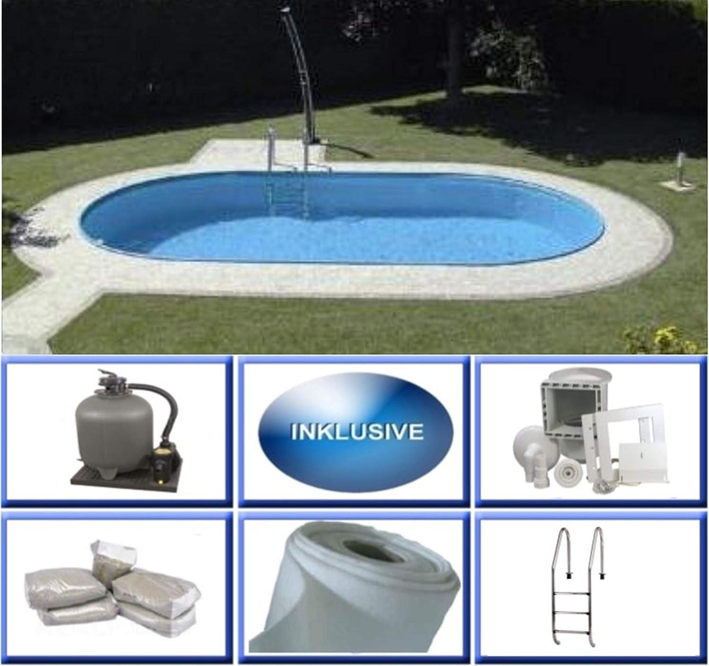 Summer Fun Rhodos - Piscina ovalada de acero (4,20 x 8,00 x 1,50 m, 0,6 mm, 420 x 800 x 150 cm)