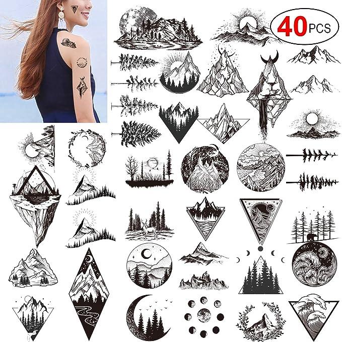 Konsait 20 hojas de tatuajes temporales negros para adultos ...