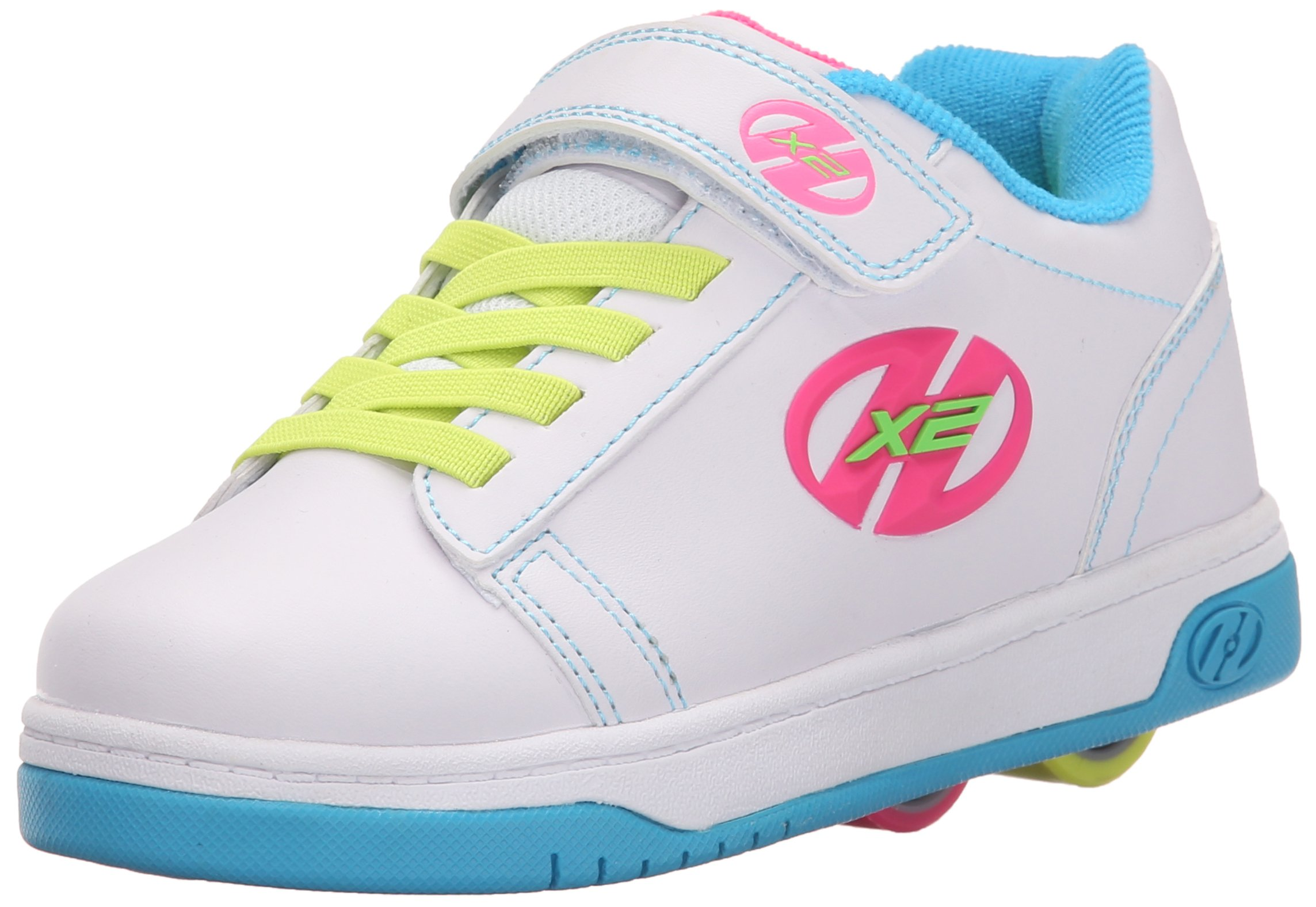 Heelys Dual Up X2 PU Sneaker (Little Kid/Big Kid), White/Neon Multi, 13 M US Little Kid