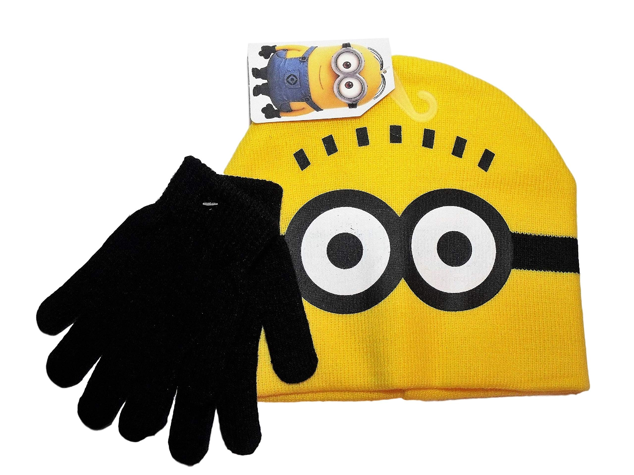 Despicable Me Minions Face Yellow Knit Beanie Hat Black Gloves Set