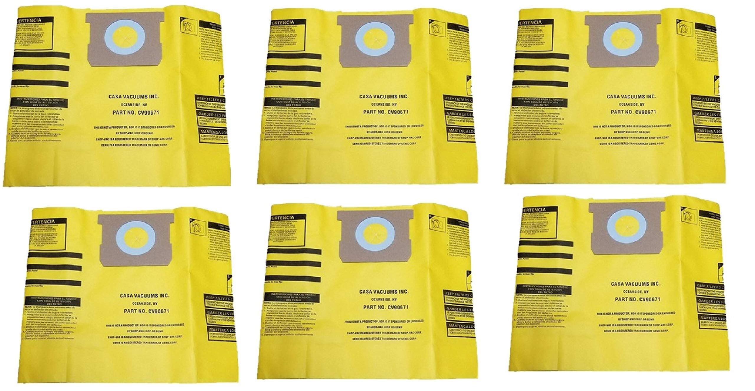 CASA VACUUMS replacement for Shop-Vac 5-8 Gallon HIGH EFFICIENCY Disposable Collection Bag CV9067100, replaces Genuine Part #'s Type H High Efficiency 9067100 & Type E 9066100, 6-Pack