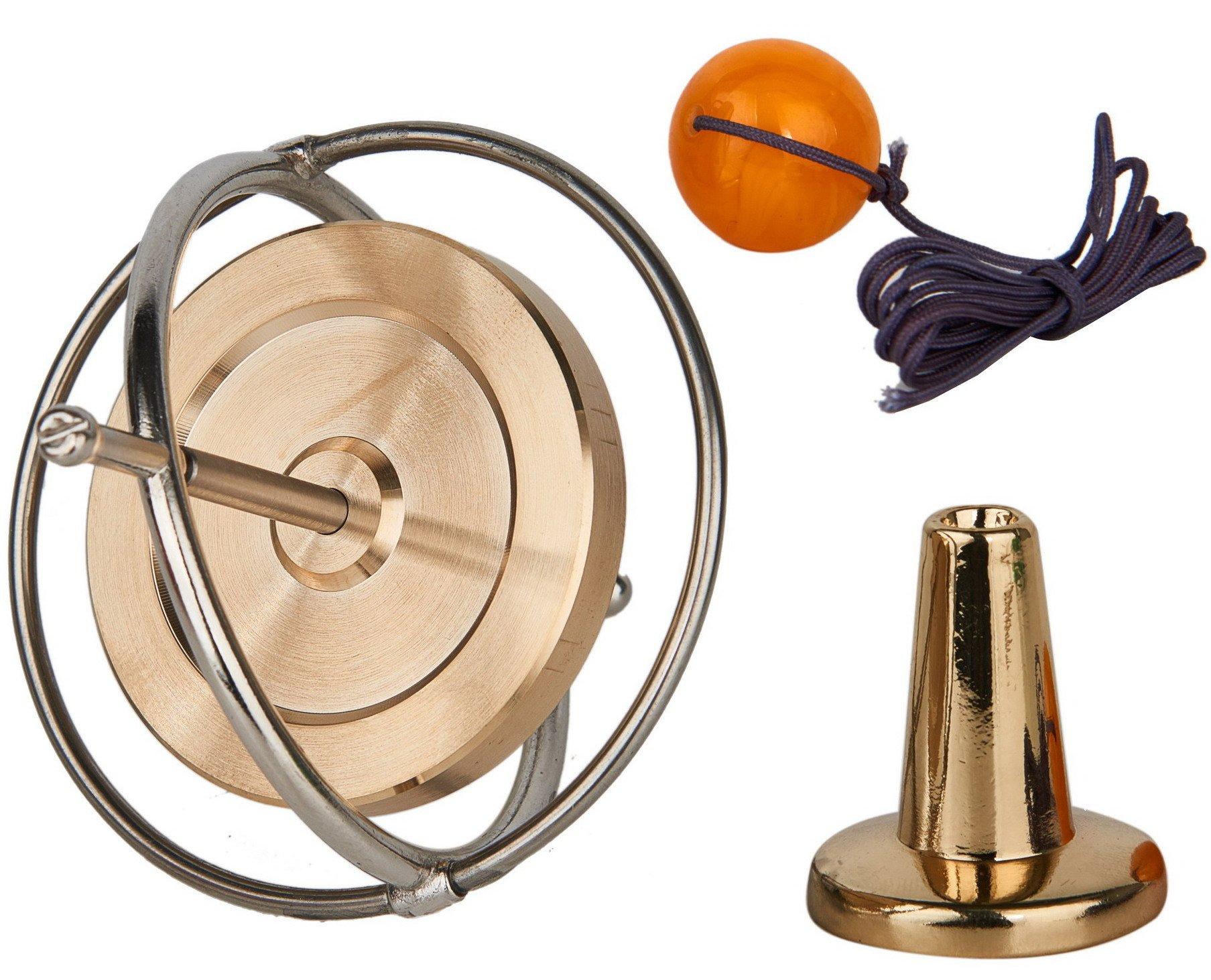 Joytech Precision Gyroscope Metal Anti Gravity Balance Toy Brass Wheel Silver Rim Spinning Top WK002-3