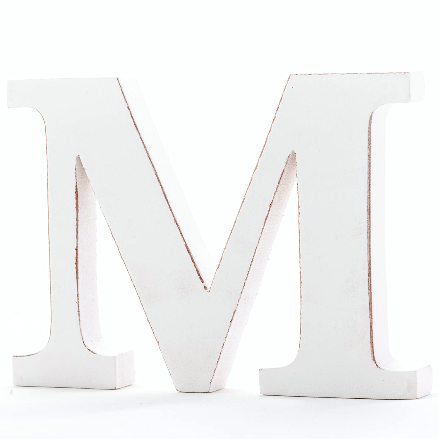 Shabby Chic Vintage Large 11 cm Wooden Free-standing A to Z, & Alphabet Letters (Letter M) Handicrafts