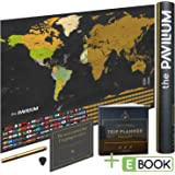 """Amazon Price History for:Premium Scratch Off Map of the World with United States & All Countries – 17""""x 24"""" - Make Amazing Memories w/Laminated World Map Poster w/Flags, Scratcher Tool & Dry Erase Marker by The Pavillium"""