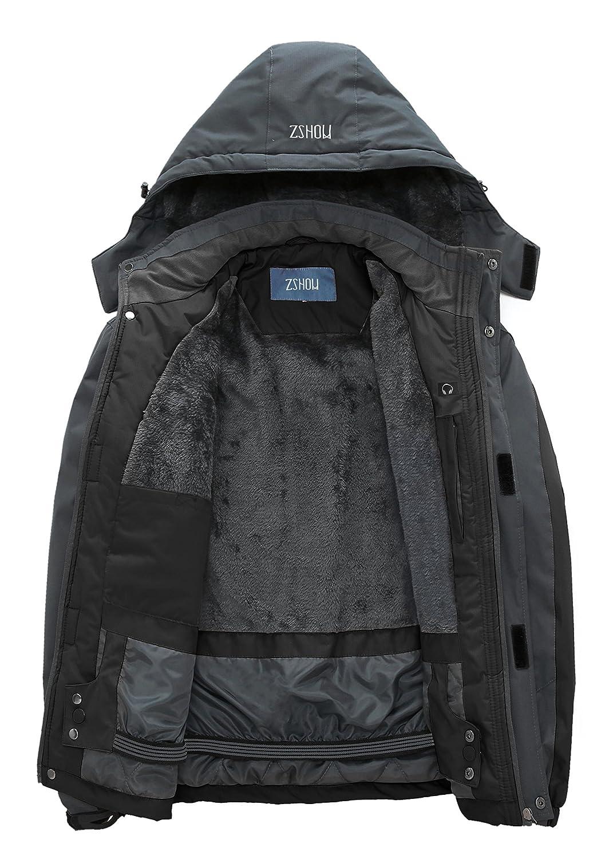 ZSHOW Mens Waterproof Ski Jacket Windproof Fleece Outdoor Insulated Mountain Snow Rain Jacket