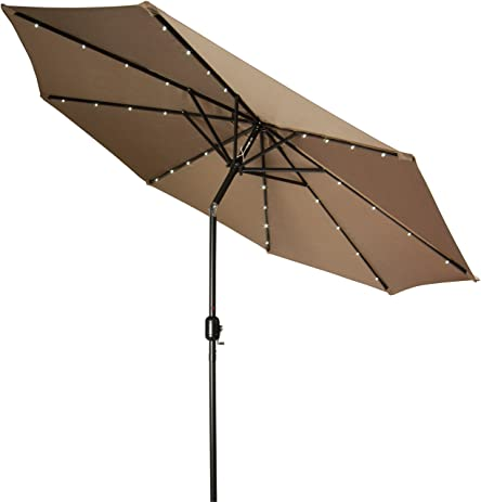 Delightful Trademark Innovations Deluxe Solar Powered LED Lighted Patio Umbrella,  9 Feet, Tan