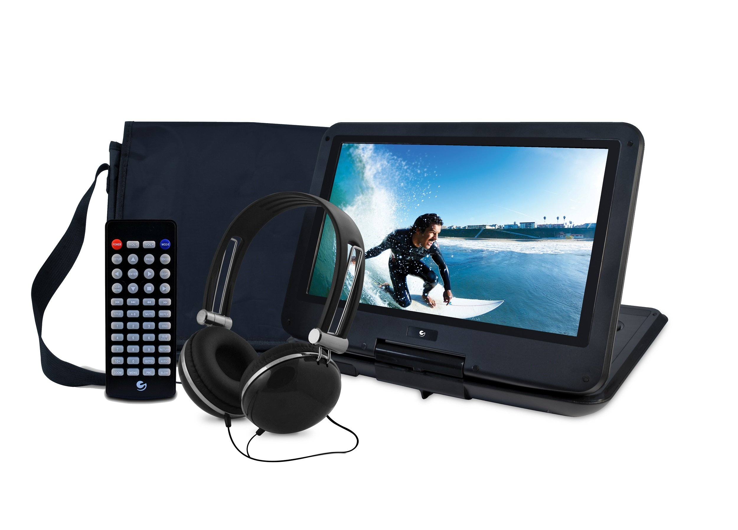 Ematic Portable DVD Player with 12-inch LCD Swivel Screen, Travel Bag, Headphones and Remote Control, Black