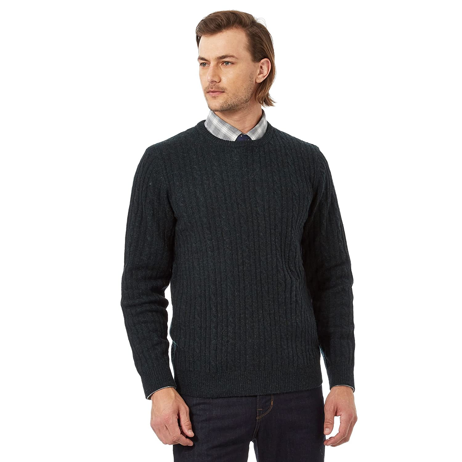 Big And Tall Dark Green Lambswool Rich Cable Knit Jumper