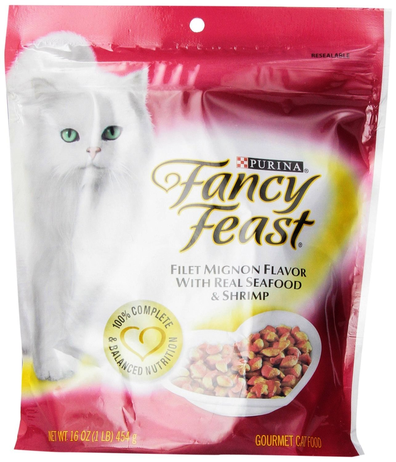 Purina Fancy Feast Gourmet Cat Food, Filet Mignon Flavor with Real Seafood & Shrimp, 16 oz. Pack of 2