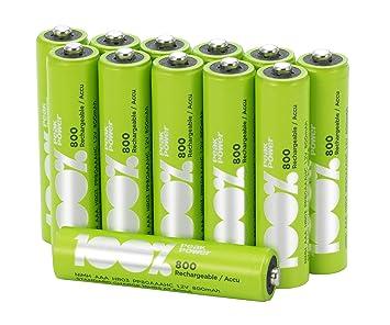 8a6de8c3b36 12 x Pilas Recargables AAA 100%PeakPower | Capacidad mínima garantizada 800  mAh NiMH | Pilas AAA recargables que vienen precargadas listas para usar |  Bajo ...