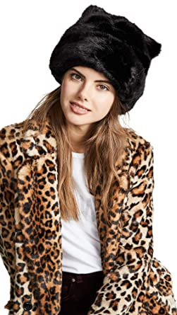 21c9af4dcc0e Kate Spade New York Women's Faux Fur Hat with Ears, Black/Black, One