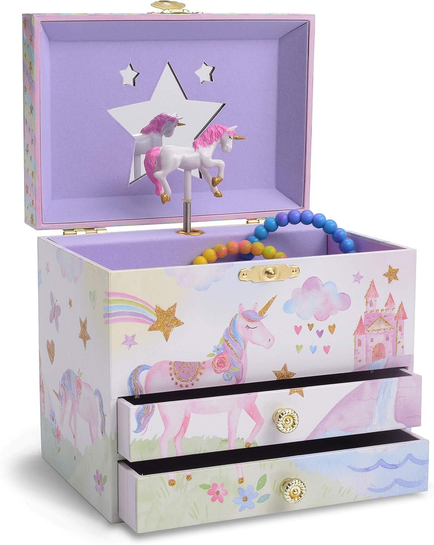 Jewelkeeper Musical Jewelry Box with 2 Pullout Drawers, Glitter Rainbow and Stars Unicorn Design, The Unicorn Tune
