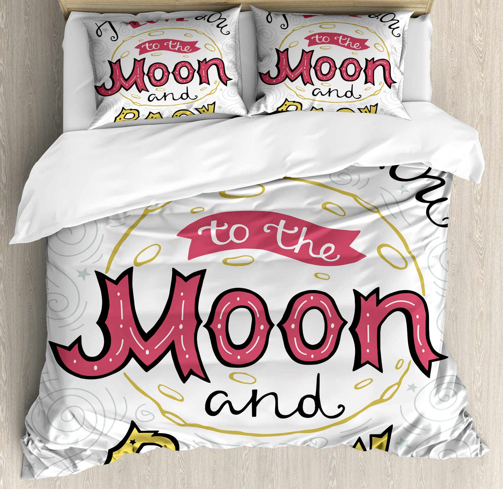 I Love You Queen Size Duvet Cover Set by Ambesonne, I Love You to the Moon and Back Phrase Hand Drawn Friends Couples Design, Decorative 3 Piece Bedding Set with 2 Pillow Shams, Pink Yellow Pearl